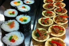 sushi and shredded duck canape tartlet